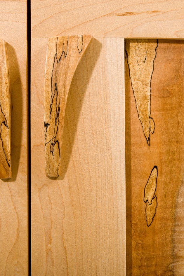 Spalted maple handles and panels on Karen's dresser by Seth Rolland custom furniture design