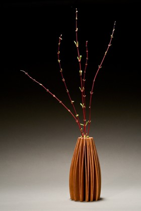 Lilac vase in alder wood, bud vase designed and created by Seth Rolland furniture maker