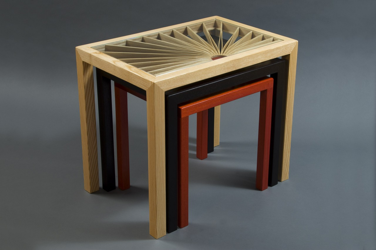 Stacked nesting wood and glass side tables by Seth Rolland custom furniture design