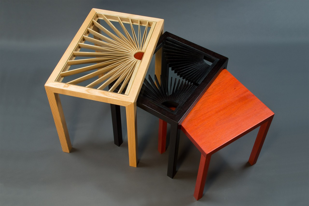 Lorraine's nesting tables custom made from wood and glass by Seth Rolland furniture maker