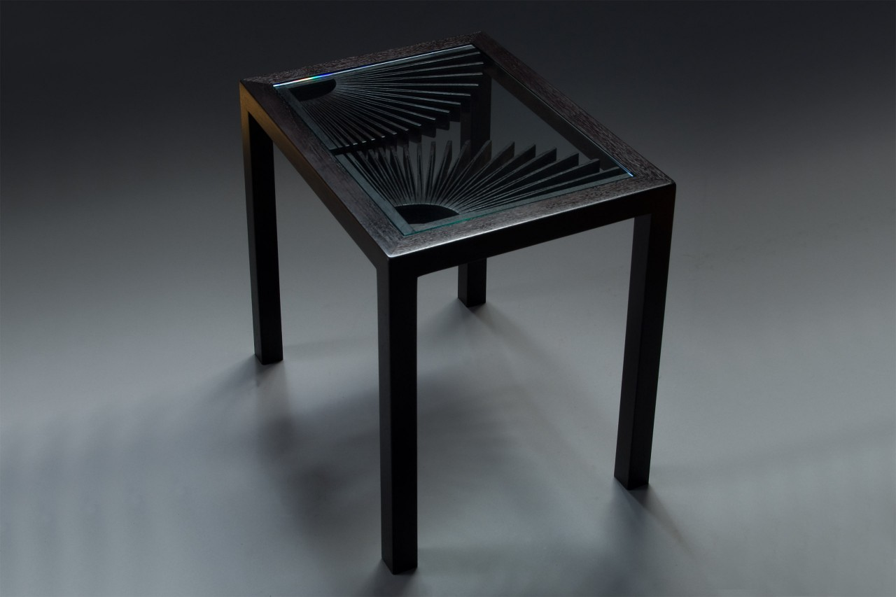 End table or side table in ebonized walnut with glass top by Seth Rolland custom furniture design