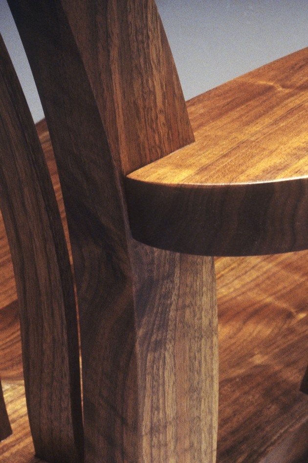 detail of walnut Mesa Rocking chair handmade by Seth Rolland woodworking