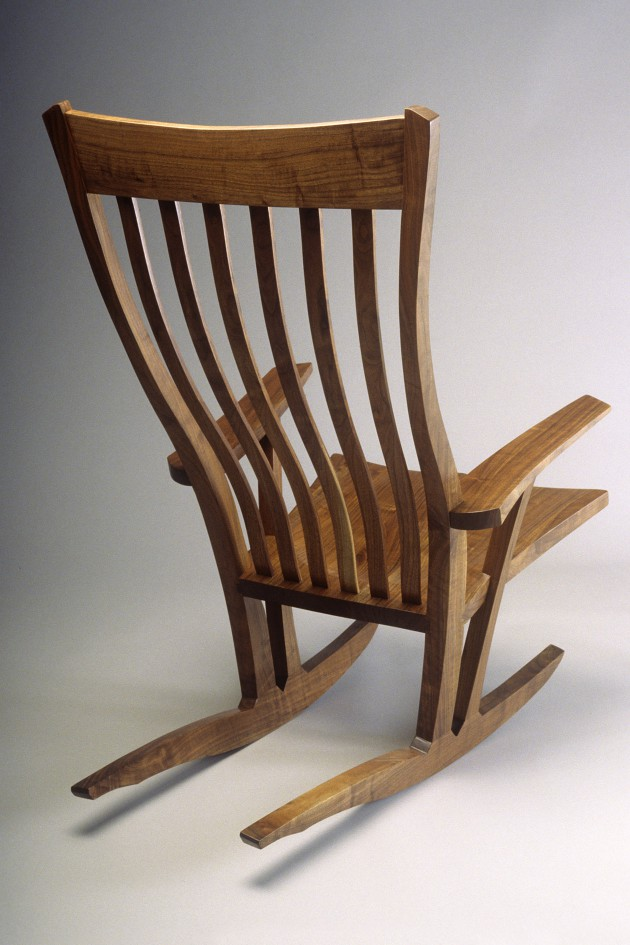 Walnut rocking chair by Seth Rolland custom furniture design