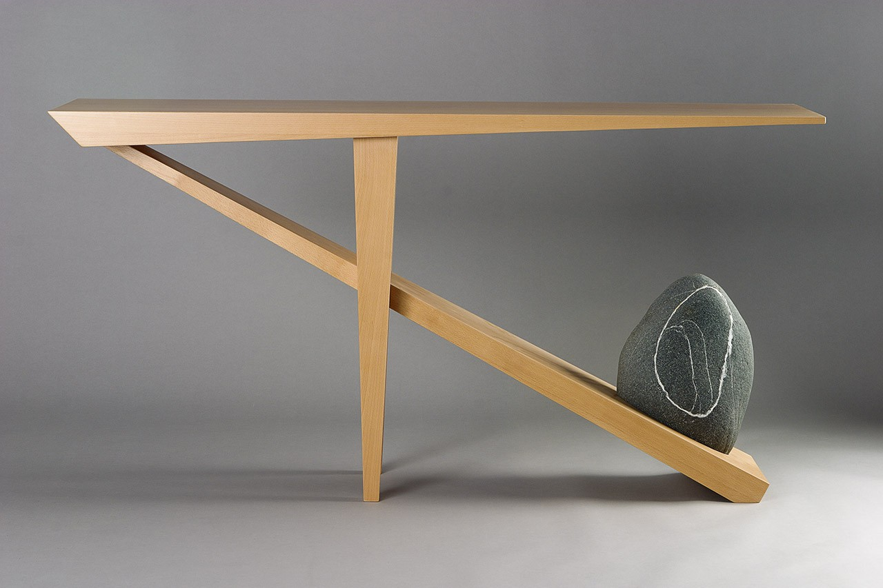 Entry Table Console With Beech Wood Balance By Natural Stone Custom Made Seth Rolland Furniture