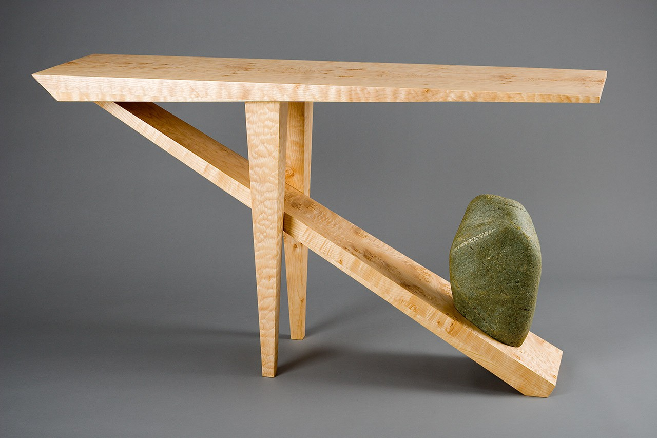 H  Entry Hall Table Console Made From Wood And Stone By Seth Rolland  Custom Furniture Design