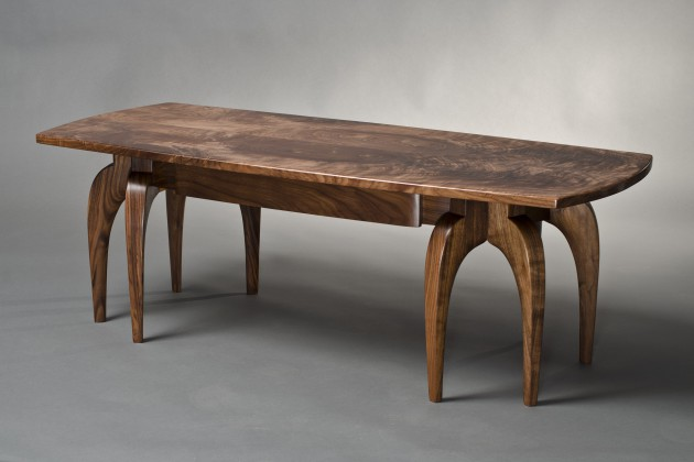 solid walnut wood contemporary, organic coffee table with bookmatched top by Seth Rolland custom furniture design