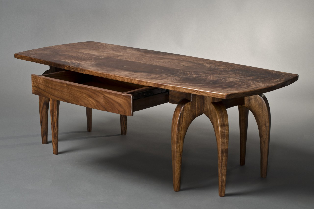 Walnut coffee table with drawer available in custom sizes from Seth Rolland fine furniture design