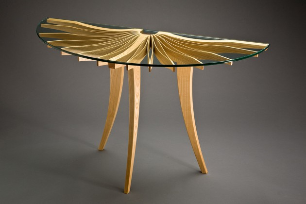 Ash wood Oxeye hall table entry console designed and hand crafted by Seth Rolland furniture