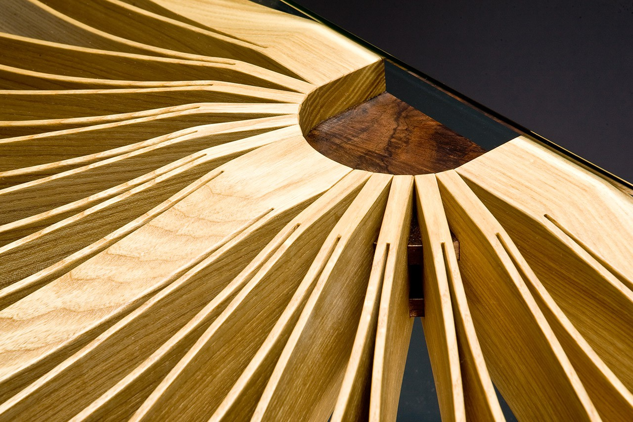 Detail of Oxeye hall table console made from one piece of ash by Seth Rolland custom furniture design