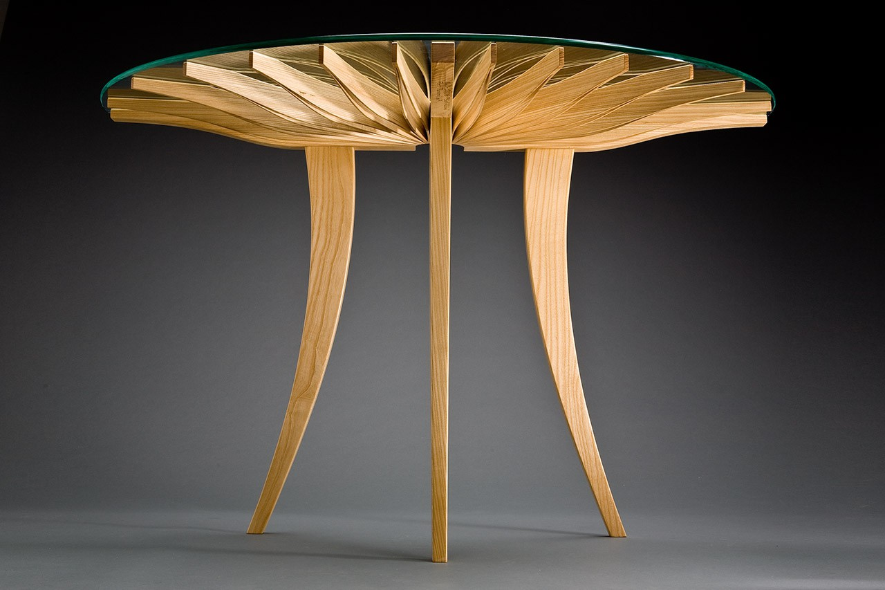 Low view of Oxeye hall table, entry or console table custom made from ash by Seth Rolland fine furniture