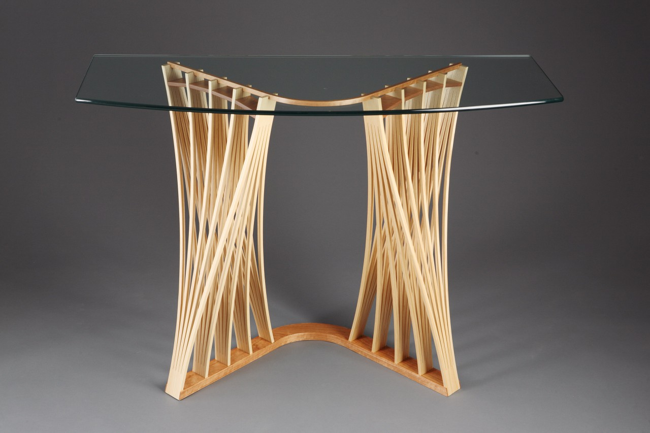 Glass top wood Parabola display table for hall or entry console Dreamcatcher Hall Table