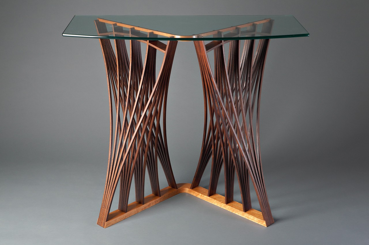 second side of walnut wood Parabola display table for hall, entry or console by Seth Rolland custom furniture design