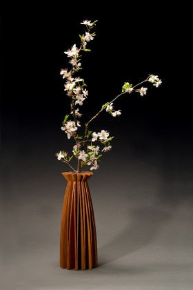 Poppy wood vase and bud vase by Seth Rolland custom furniture design