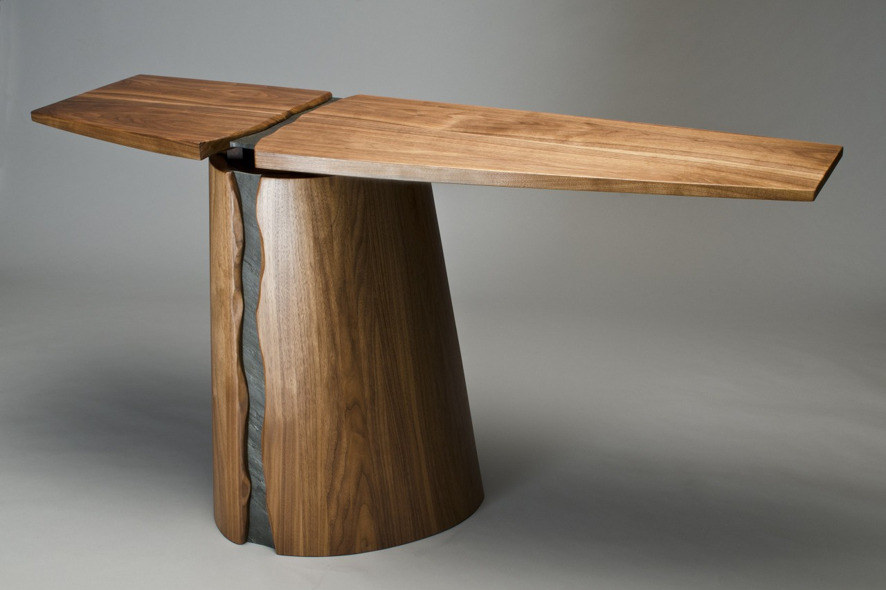 Wood and slate Rainforest buffet or hall table by Seth Rolland custom furniture design