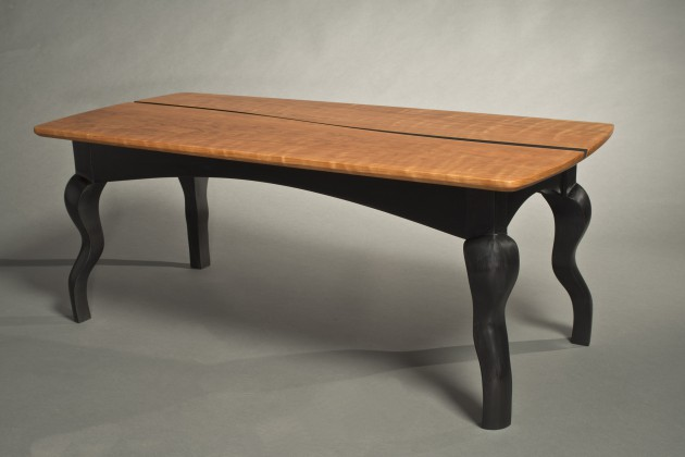 carved modern coffee table made from cherry and milk paint in custom sizes by commission by Seth Rolland furniture