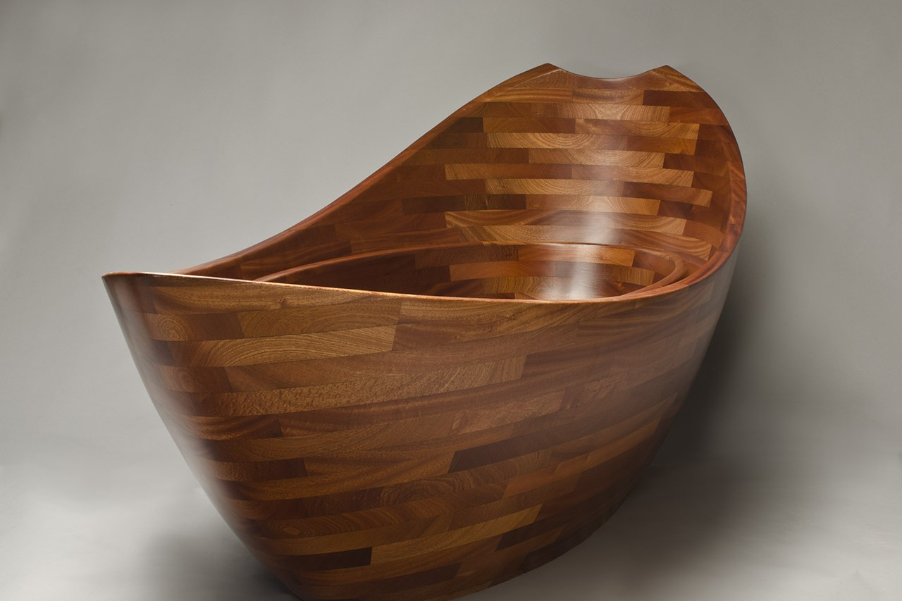 ... Front View Of Sculpted Wooden Bathtub By Seth Rolland Custom Furniture  Design ...