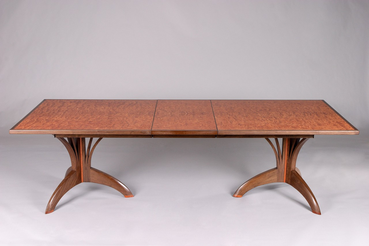 Dining table with leaf and bubinga veneer top hand made by Seth Rolland custom design furniture