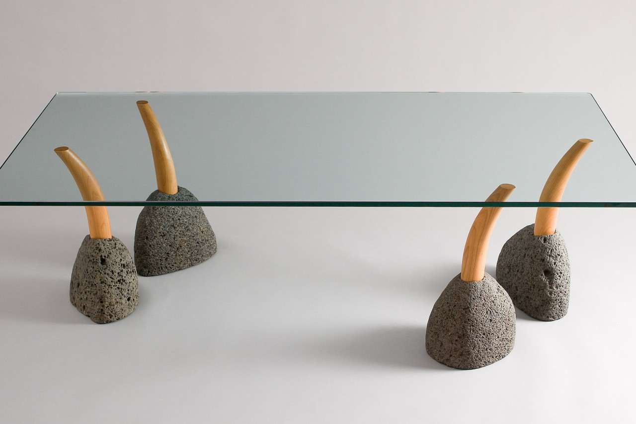 Glass coffee table with modular stone and wood legs, zen garden style by Seth Rolland cis