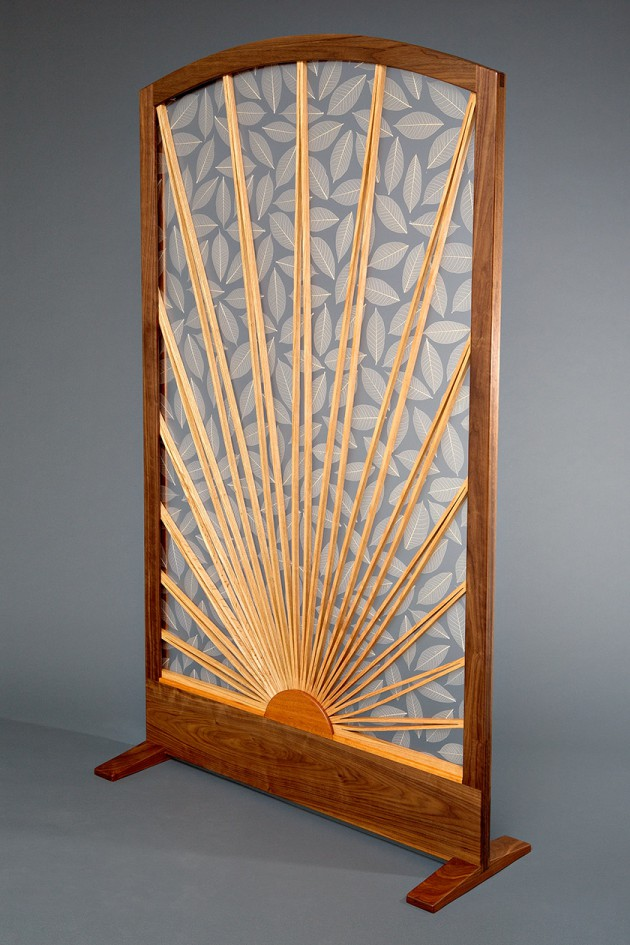 Transluscent room divider with wood frame and pattern custom crafted by Seth Rolland furniture design