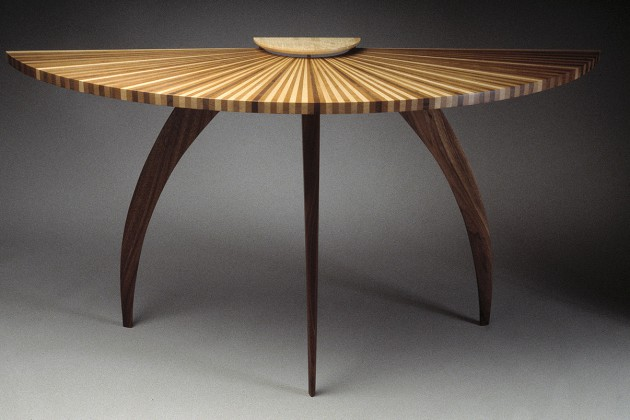 demilune wood entry, hall table made from walnut, cherry and maple with curved legs. Available in custom sizes and hand made by Seth Rolland