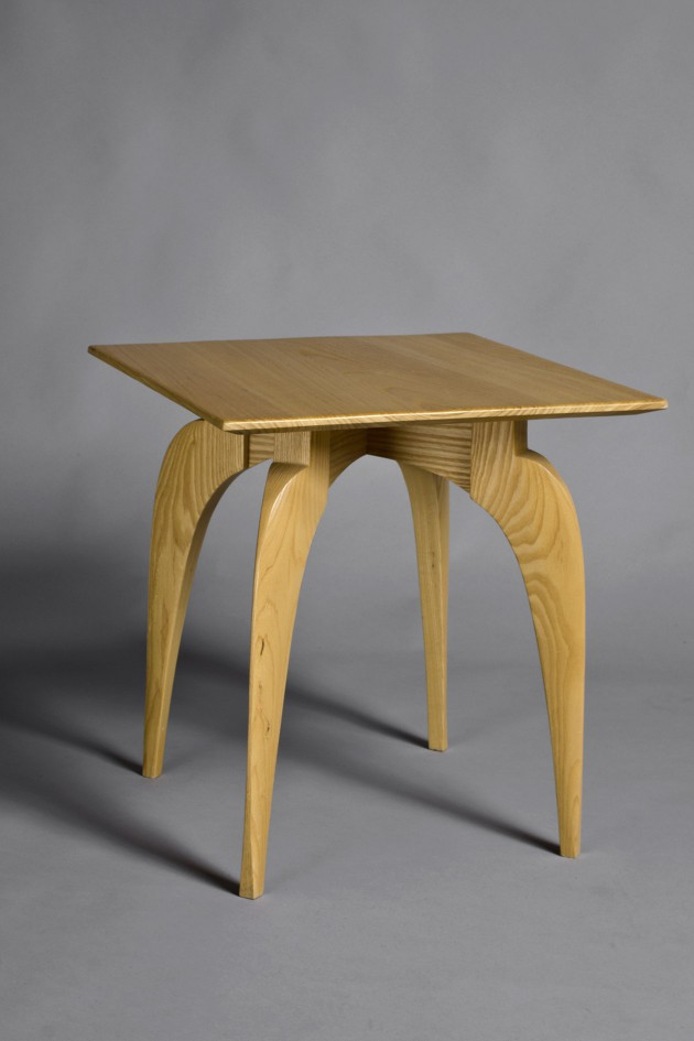 Square wood side table with sculpted legs by Seth Rolland custom furniture design