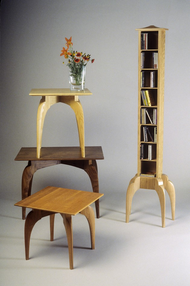 End tables, side tables and display tower in solid wood by Seth Rolland custom furniture design