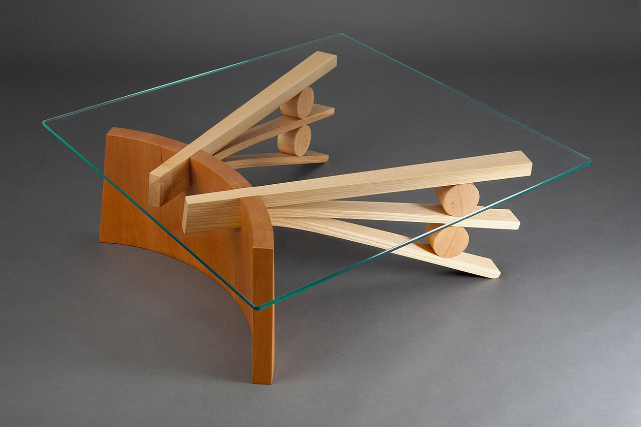 Square Glass Top Coffee Table With Curved Wood Base Made From Coopered  Cherry And Bent Ash ...