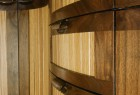 Curved cabinet detail with walnut and oak by Seth Rolland custom furniture design