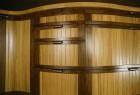 Curved walnut and oak cabinets by Seth Rolland custom furniture design