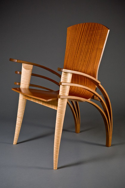 Contemporary wood dining chair or desk chair bent wood by Seth Rolland custom furniture design, Eames chair
