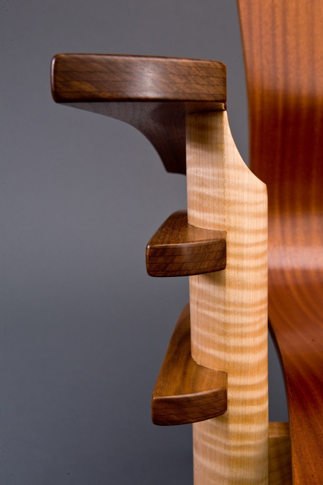 Arm detail of Trimerous chair by Seth Rolland custom furniture design