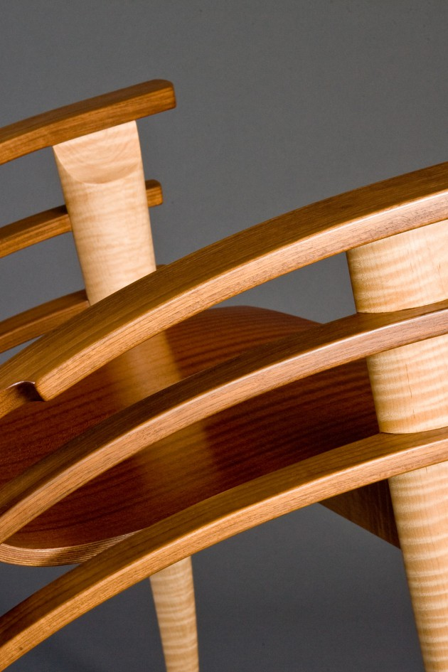 contemporary wood occaisional or desk chair designed and hand made by Seth Rolland furniture