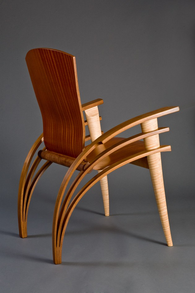 Back view of Trimerous chair made from walnut, maple and sapele wood by Seth Rolland custom furniture design