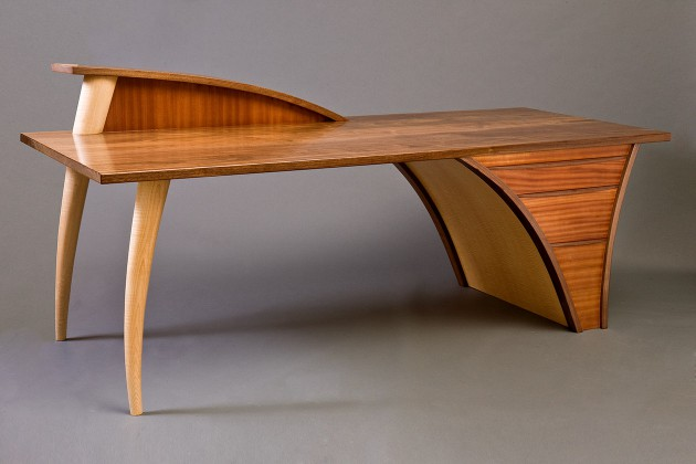 Merveilleux Carved, Modern Wood Desk With Walnut Top And Drawers Custom Made By Seth  Rolland Studio