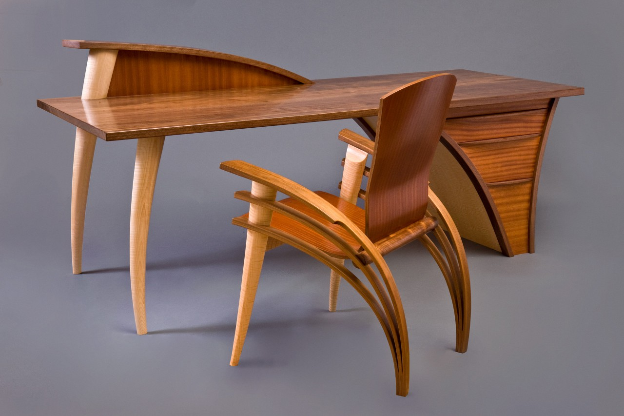 Wood desk and chair by Seth Rolland custom furniture design