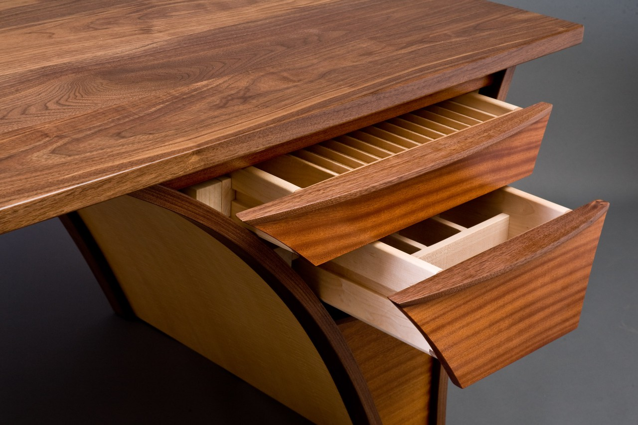 Drawer detail of Trimerous desk custom made by Seth Rolland furniture design