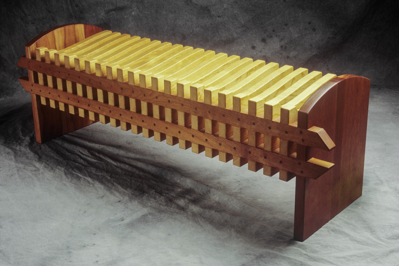 back of Vertebra bench made from cherry and pine by Seth Rolland custom furniture design