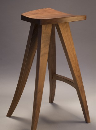 hand crafted wood barstool or computer stool, walnut, made in custom sizes by Seth Rolland fine furniture design