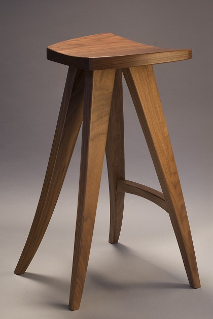hand crafted wood barstool or computer stool  walnut  made in custom sizes  by Seth. Seth Rolland   Custom Furniture Design