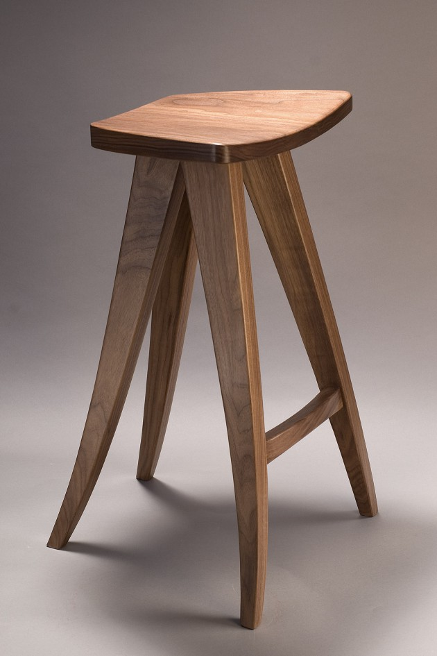 Zephyr barstool carved from solid walnut by Seth Rolland custom furniture design