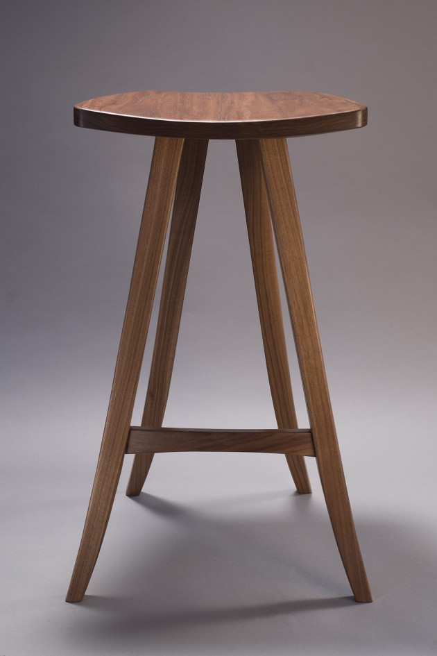 carved walnut barstool by Seth Rolland custom furniture design