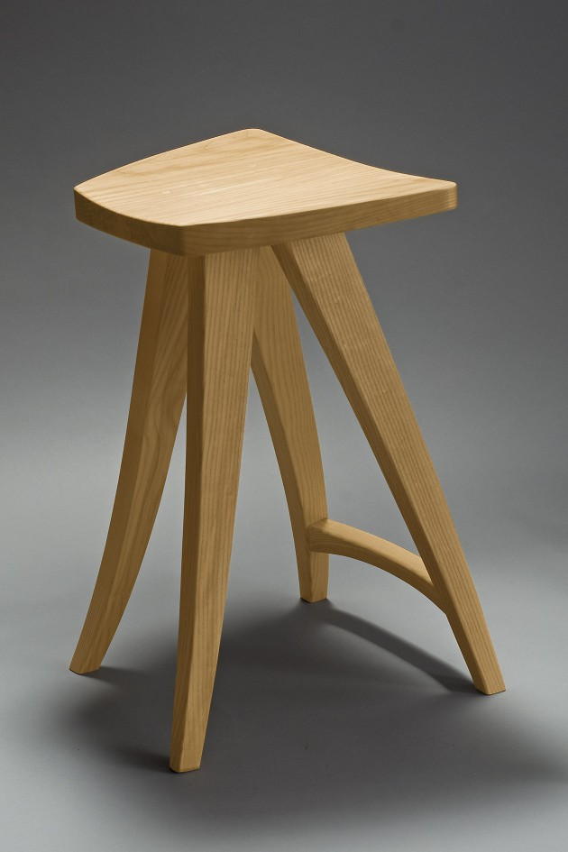 Ash counter stool custom made by Seth Rolland fine woodworking