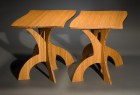 Organic, curved, modern nesting side tables in bamboo by Seth Rolland custom furniture design