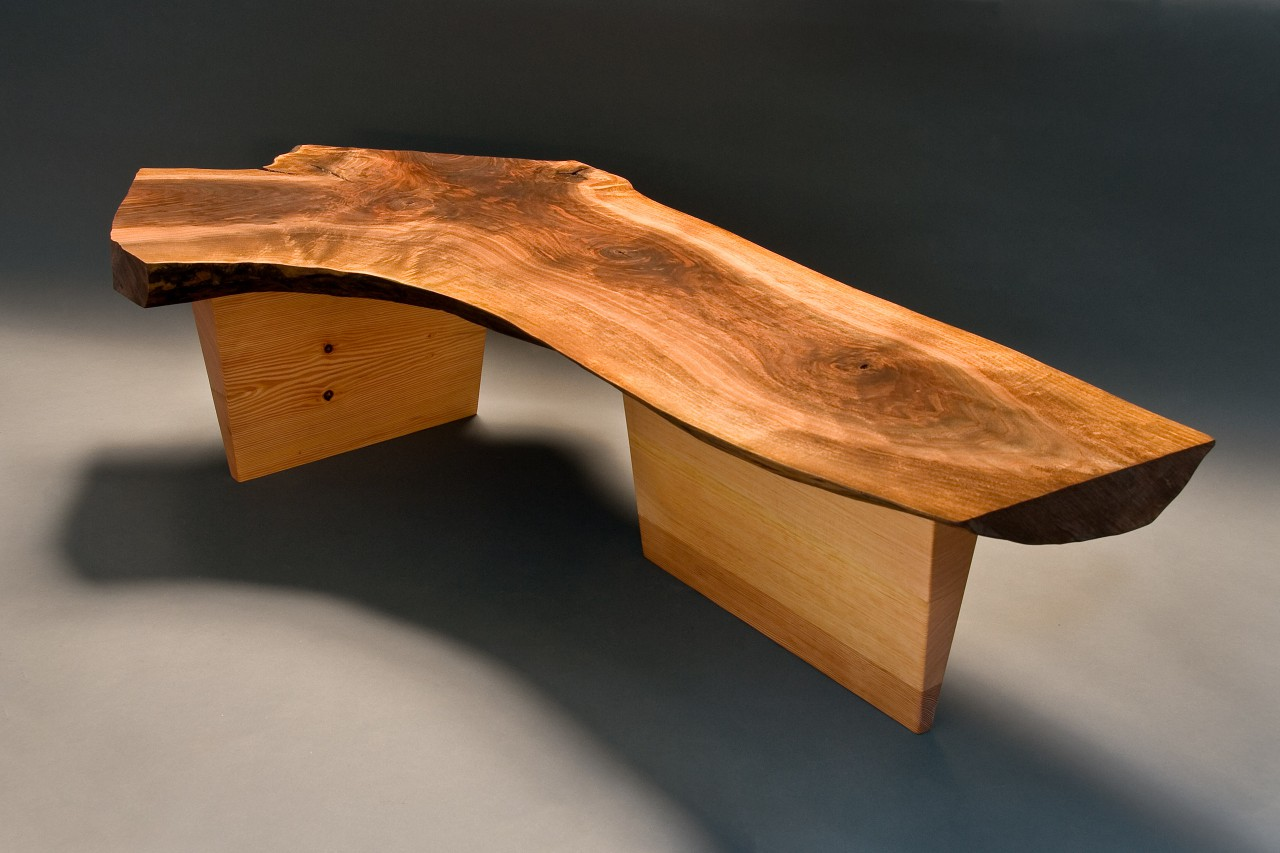 Live edge walnut bench custom made by Seth Rolland fine furniture