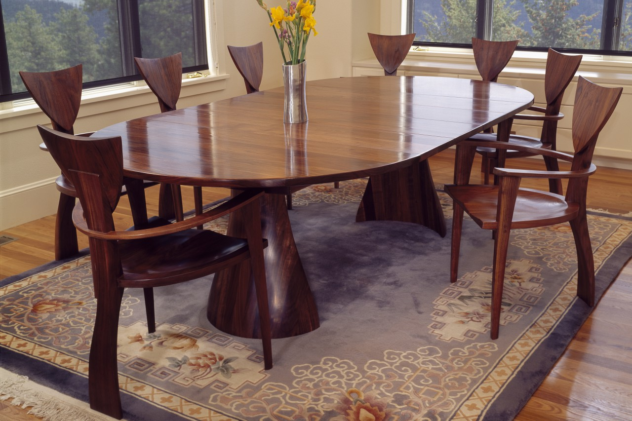 ... Expanding Wood Oval Tinsman Dining Table With Organic Base And  Sculptural Finback Chairs Hand Made By. 〉