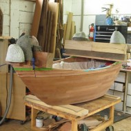 bathtub in progress with stone clamps