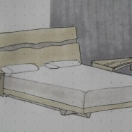 Cayuga bed and nightstand sketch