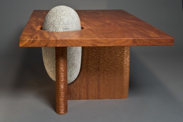 Organic Eddy Coffee Table with hand carved wood and natural stone by Seth Rolland custom furniture