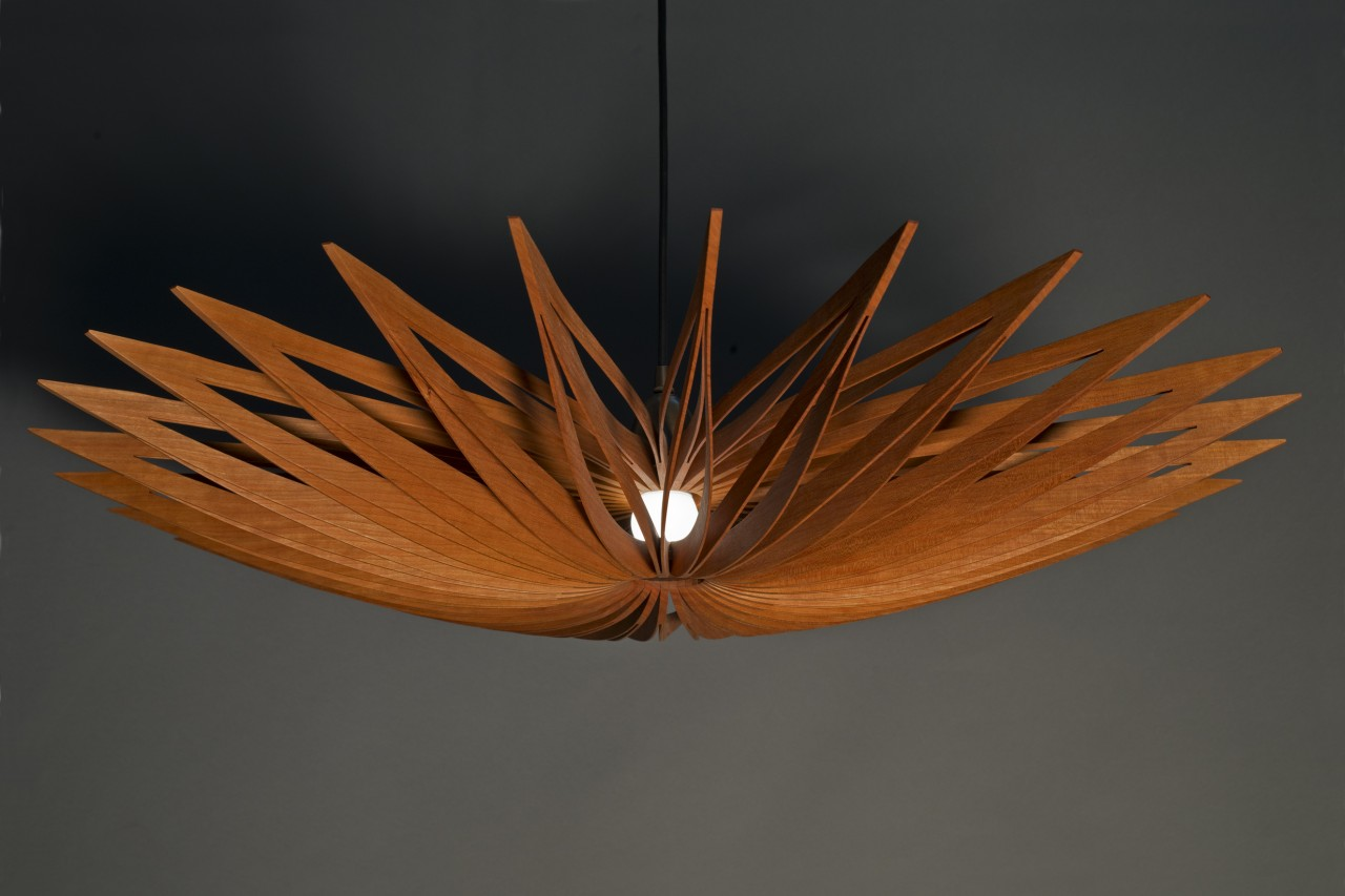 Contemporary Cherry wood pendant lamp with dimmable LED bulb hand crafted by Seth rolland custom furniture design