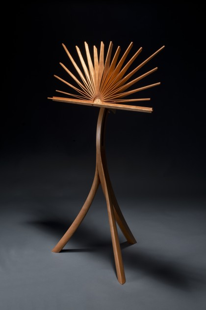 Sculptural cherry music stand with adjustable height hand bent and carved by Seth Rolland custom furniture design